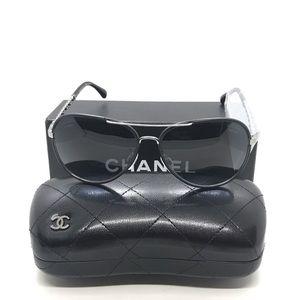 Chanel 4219Q Metal & Black Calfskin Sunglasses